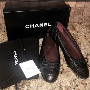 Size 36 Chanel aged calfskin quilted flats